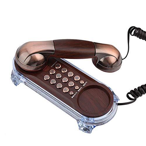 Vbestlife Teléfono fijo, textura metálica, retro, elegante, antiguo, montado en la pared, teléfono de escritorio con alfombrilla antideslizante para casa / hogar / hotel (cobre rojo)