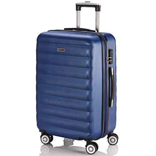 ITACA - Maleta de Viaje rígida 4 Ruedas Mediana Trolley 65 cm de abs. Dura Extensible cómoda práctica y Ligera. Calidad Marca y Precio. Estudiante y Profesional. 71260, Color Azul