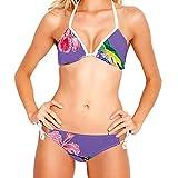 WJJSXKA Damen Vintage Badeanzug 2 Stück Neckholder Bikini, lila Vogelblume