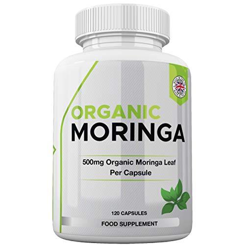 Organic Moringa Oleifera Superfood Supplement - 500mg 120 Capsules – Rich in Vitamins & Amino Acids - Suitable for Vegans