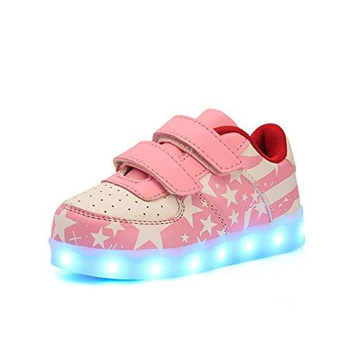 DoGeek Unisex Bambino Scarpe con Luci Scarpe LED Luminosi Sneakers con Luce nella Suola Bright Tennis Shoes USB 7 Colori Lampeggiante Trainners (25 EU, 3Pink)