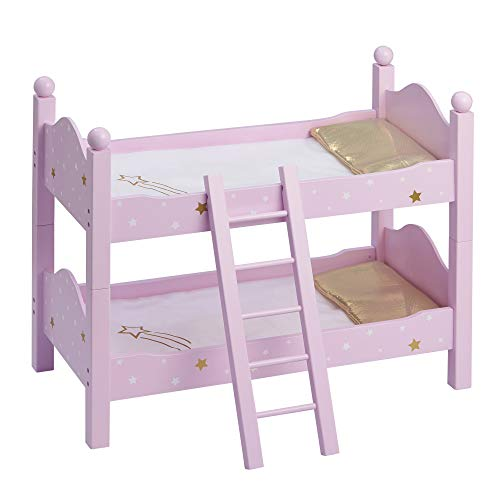 Olivia's Little World - Twinkle Stars Princess 18-Inch Doll Double Bunk Bed - Stackable Wooden Bunk Bed and Bedding for Dolls, Fits American Girl, Our Generation - Purple