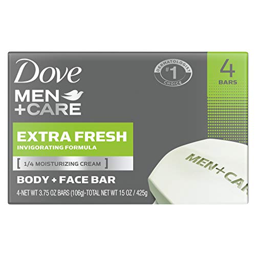 Dove Men+Care 3 In 1 Bar for Body, Face, and Shaving To Clean and Hydrate Skin Extra Fresh Body and Facial Cleanser More Moisturizing Than Bar Soap 3.75 oz 24 Bars