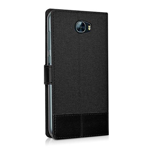 kwmobile Huawei Y6 II Compact (2016) Hülle - Kunstleder Wallet Case für Huawei Y6 II Compact (2016) mit Kartenfächern und Stand - Anthrazit Schwarz - 3