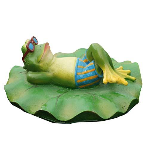 UPKOCH Schwimmender Frosch Figur auf Rettungsring Harz Frosch Garten Statue Dekofigur Tierfiguren Schwimmtier Deko Teichfigur für Badewanne Pool Teich Dekoration