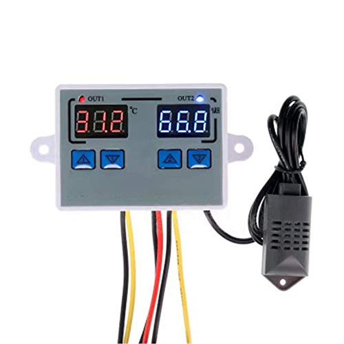 Thermostat, Digital Temperature Humidity Controller Home Fridge Thermostat Humidistat 10A Direct Output Thermometer Hygrometer Control (DC 12V)