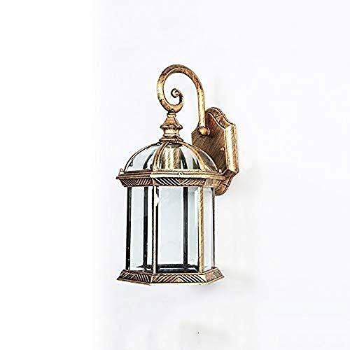 Lámpara de Pared con Iluminación Decorativa Wall American Retro aire libre impermeable de la lámpara creativa Hierro forjado al aire libre al aire libre Patio Jardín Luz de cristal ala del balcón de i