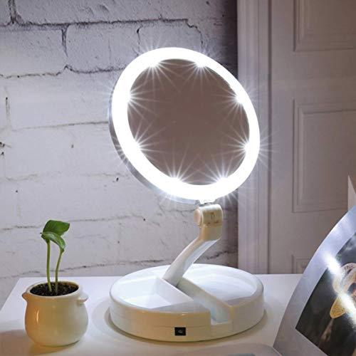 Espelho De Luz Led Dobrável Aumento 10x Dupla Face Portátil