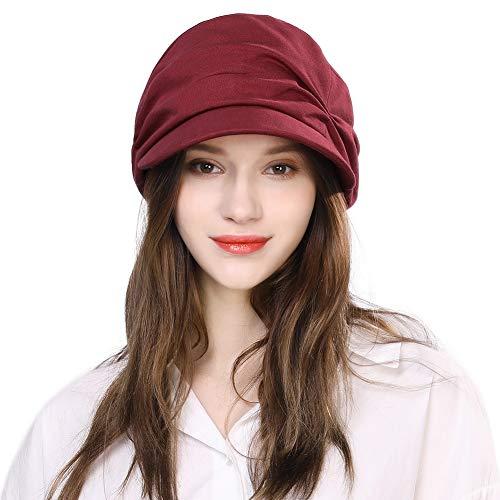 Comhats Damen Sommerhut Schirmmütze Barett Mütze mit Visor Damenmütze Rot