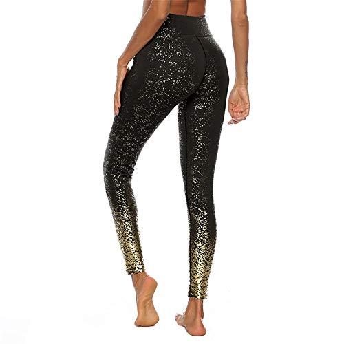 SotRong Damen-Sport-Leggings, lang, hohe Taille, Yogahose, Glitzerglanz XL Schwarz
