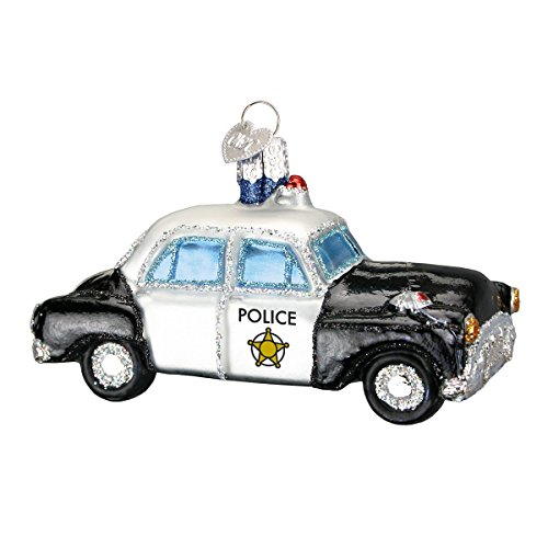 Old World Christmas Ornaments: Police Officer Gifts Glass Blown Ornaments for Christmas Tree, Police Car