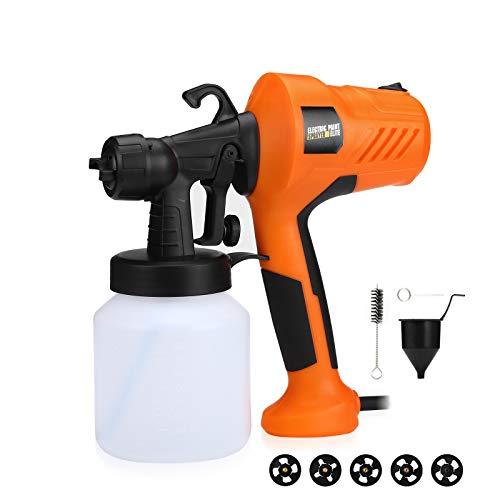 Powerextra HVLP Farbsprühsystem 700W Elektrische Spritzpistole - 5 Kupferdüsen, 800ml Behälter, 650ml / min - Einfaches Sprühen und Reinigen Leichtgewicht für Tische Stühle Zäune und Kunsthandwerk