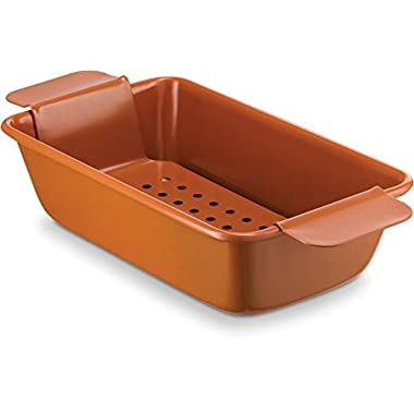 Ceramic Coated Loaf Pan 9.6  x 2.6  With Removable Tray – Premium Nonstick, Even Baking, Dishwasher and Oven Safe - PTFE/PFOA Free - Red Cookware and Bakeware by Bovado USA