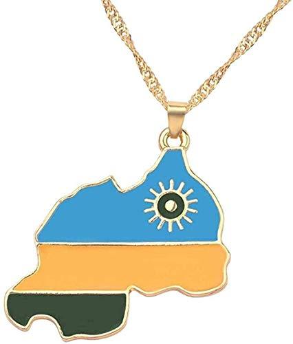 WYDSFWL Collar Placa Colgante Collar Bandera de la República de Irak Joyas para Mujeres Hombres Ruanda Puerto Rico Mapa Colgante Collar Joyas Collar Collar