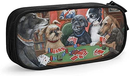 Estuche para lápices de perros jugando a tarjetas de póquer, divertido juego con cremallera, estuche organizador portátil para escuela, oficina, adolescentes, niños y niñas