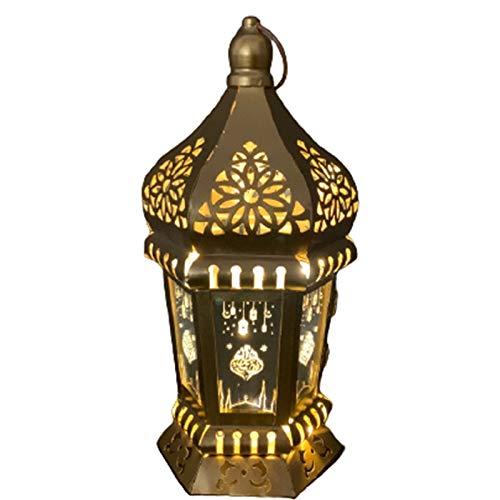 YHX Ranadan Eid al-Fitr Ramadán linternas linternas de Viento de Hierro, linternas árabes, Adornos artesanales y Colgantes(Size:A)