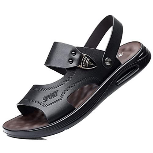 PIANAI Sandalias de Hombre/Zapatos de Playa Antideslizantes con cojín de Suela Blanda de Cuero de Verano / 2021 Nuevas Sandalias y Zapatillas Exteriores de Moda Casual,Negro,41