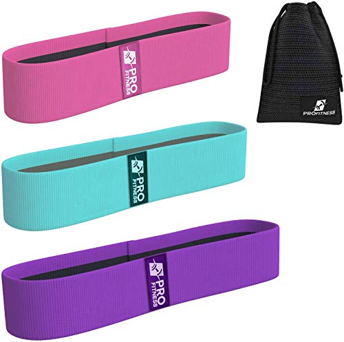 ProFitness Hip Resistance Bands for Legs and Butt - Set of 3 Non-Slip...