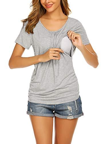 UNibelle Camiseta de lactancia de manga corta para mujer, para embarazo, maternidad, tallas S-XXL, 1_gris claro, M