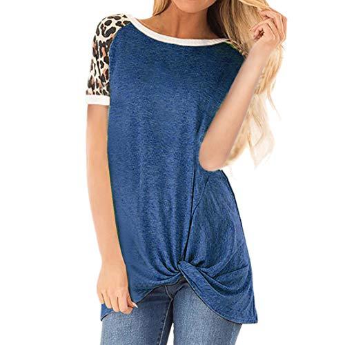 Camiseta de Manga Corta de Verano para Mujer Tops Sueltos Casuales Top con Estampado de Leopardo Blusa Sexy Sudadera para Mujer Larga Jersey para Camiseta de Color sólido Top Camisetas Casuales