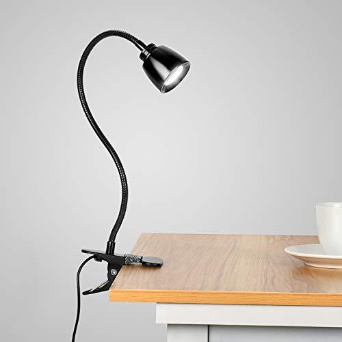 Lámpara de Escritorio LED, KEEHOM Lámpara de Mesa USB con Pinza, 3 Modos de Luz y 10 Niveles de Brillo, Cuello Flexible Ajustable, Luz de Lectura con Protección Ocular y Ahorro de Energía