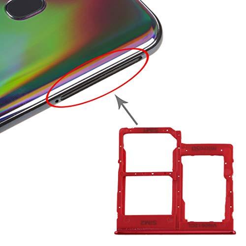 Yukiki La Bandeja de Tarjeta SIM Bandeja de Tarjeta SIM + + Micro Bandeja de Tarjeta SD for el Galaxy A40 (Negro) (Color : Red)