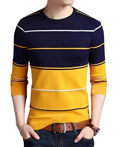 EYEBOGLER Men's Striped Regular fit T-Shirt (T305_Yellow Dark Navy White M)