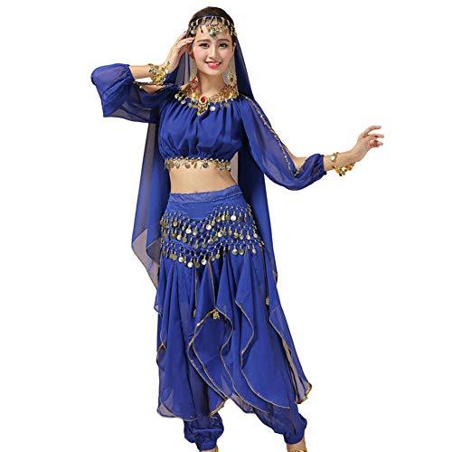 Xinvivion Damen Bauchtanz Kostüm, Indischer Tanz Bühnenaufführung Halloween Karneval Tanzen Outfit,Dunkelblau