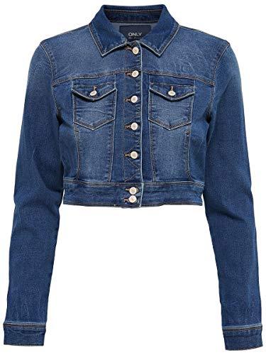ONLY Damen Onlnew WESTA Cropped DNM Jacket RP Jeansjacke, Blau (Medium Blue Denim Medium Blue Denim), 42