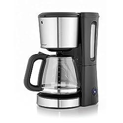 WMF BUENO Filterkaffeemaschine Glas, 10 Tassen, Kaffeemaschine mit Aromaglaskanne, Tropfstopp, Warmhalteplatte, cromargan/silber, 1000 W