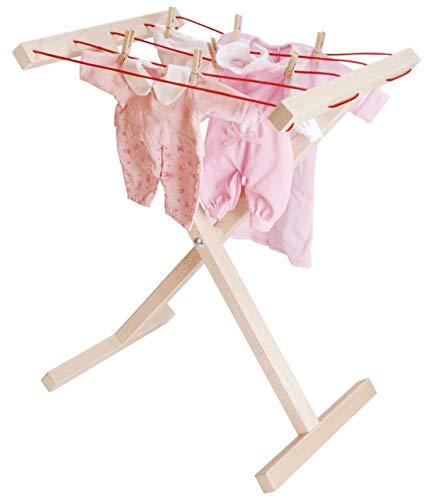 Aufklappbarer Wäscheständer für Kinder inkl. 20 Wäscheklammern aus Holz / Made in Germany / Gewicht: 1,38 kg / für Kinder ab 3+