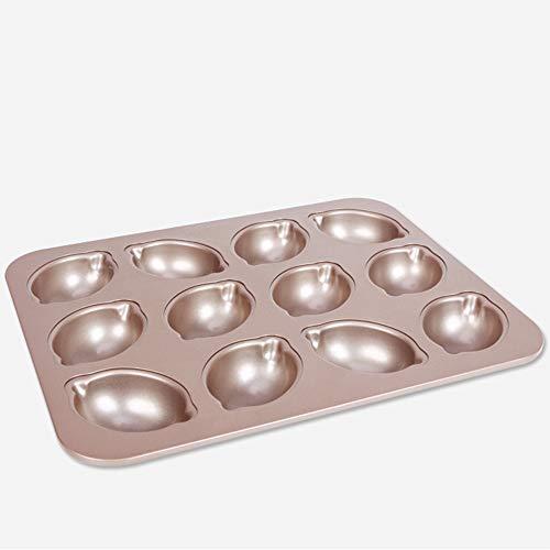 Mihaojianbing Küchenutensilien Backenwerkzeuge, Zitronenkuchen Backblech Leicht Zu Entformen Ofenform, Gold Kohlenstoffstahl (32,5 X 25,8 X 3,2 cm) Leicht zu lösen