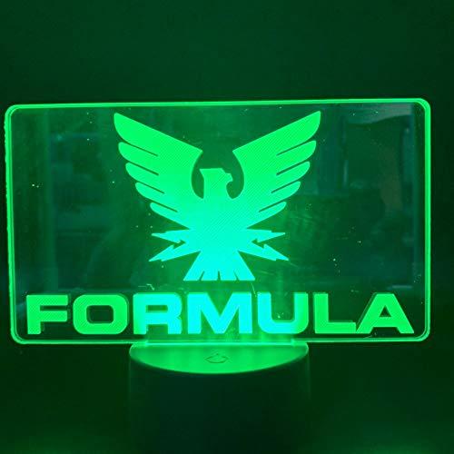 Nur 1 Stk. Formel 1 F1-Autorennen-Logo LED-Nachtlicht Farbwechsel Innenraum Dekoratives Nachtlicht Geburtstagsgeschenk für Jungen Tischlampe