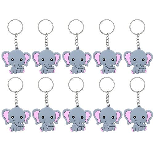 Finduat 20 Pcs Pink Baby Elephant Keychains for Elephant Theme Party Favors Pendant, Birthday Party Supplies, Baby Shower Favors Girl Party Favors for Kid Toy Ornament Souvenirs Gift