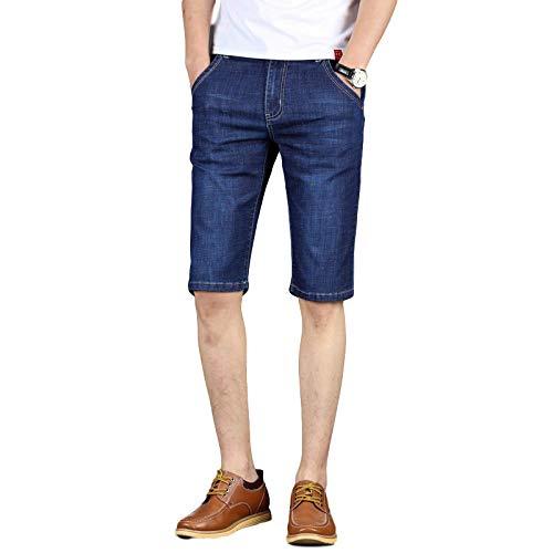 Pantalones Cortos de Mezclilla Ajustados para Hombre, elásticos Rectos, Finos, cómodos, Transpirables, con Cremallera, Tapeta, Vaqueros básicos de Cinco Puntos 42