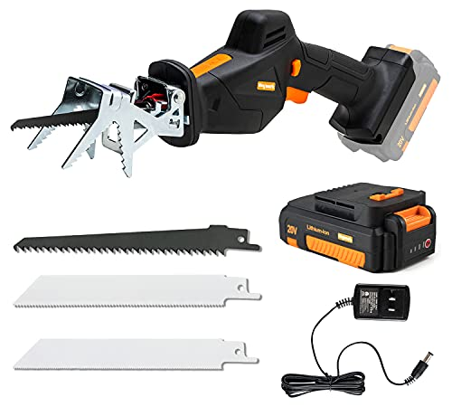 Heywork 20V Reciprocating Saw Cordless with Battery and Charger Included, 0-2800SPM Variable Speed & Tool-free Blade Change Battery Powered Electric Small Reciprocal Saw w/Clamping Jaw