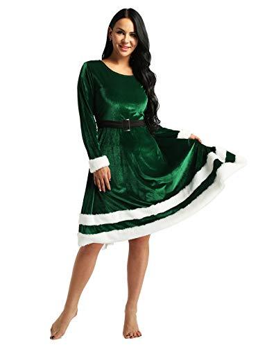 Freebily Vestito Donna Elegante Velluto Lungo Abito Natalizio Invernale Elegante Maniche Lunghe Babbo Natale Pupazzo Costume Natalizio Elfo Natale Abito Cerimonia da Festa Verde 4XL