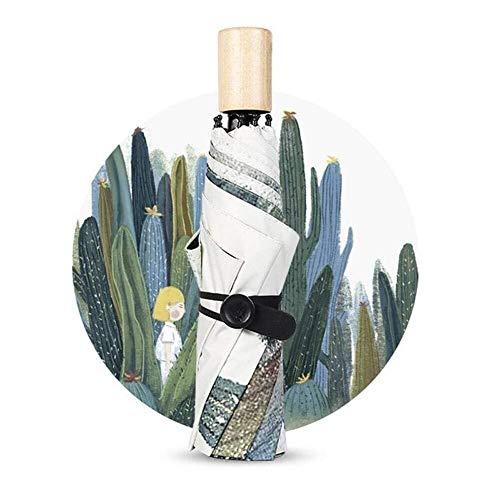 Exquisite kompakte Ultraleichtflugzeuge personalis Taschenschirme for Damen Winddichter Reisesonnenschutzschirm Kompakter Taschenregenschirm (Farbe: Grün, Größe: M) Holzgriff-bunter regensicherer Scha