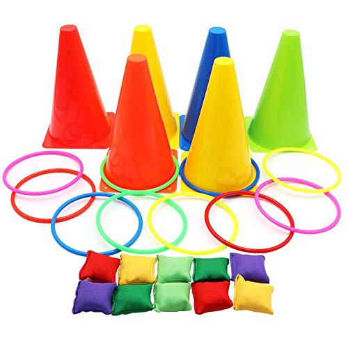 Aotoer 3 In 1 Ring Toss Game Carnival Combo Set Soft Traffic Cone Bean Bags with Plastic Multicolor Throwing Circle Activity Rings for Kids Outdoor Indoor Speed and Agility Practice Games