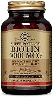 Solgar Super Potency Biotin 5000 mcg, Non-GMO, Supports Healthy Skin, Nails & Hair, 100 Vegetable Capsules