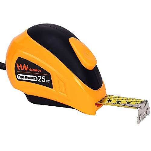 HamWoo Auto-Lock Tape Measure with 25 Ft (7.6m),Retractable Inch and Metric Ruler,Magnetic Hook,1 Inch Width Blade.