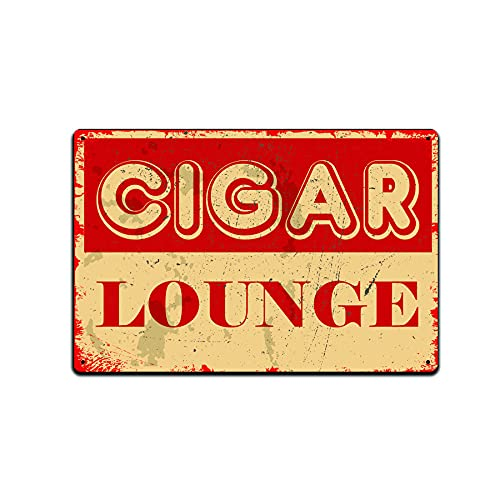 JP's Parcels Tin Signs Cigar Wall Decor - Metal Sign for Man Cave Bar Smoking Room 12 x 8 in.Cigar Lounge