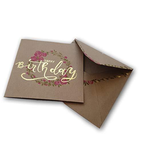 Geburtstagskarte handgeschrieben & handgemalt | Handlettering | mit Goldpigmenten |