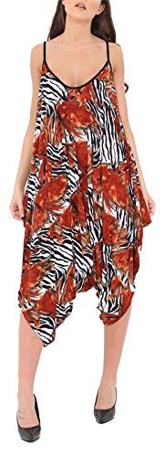 Damen Overall / Jumpsuit, ärmellos, Baggy, Harem-Jumpsuit Gr. 42-44, Brauner Tigerdruck