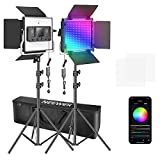 Neewer 2 Packs 660 RGB Led Light with APP Control, Photography Video Lighting Kit with Stands and Bag, 660 SMD LEDs CRI95/3200K-5600K/Brightness 0-100%/0-360 Adjustable Colors/9 Applicable Scenes
