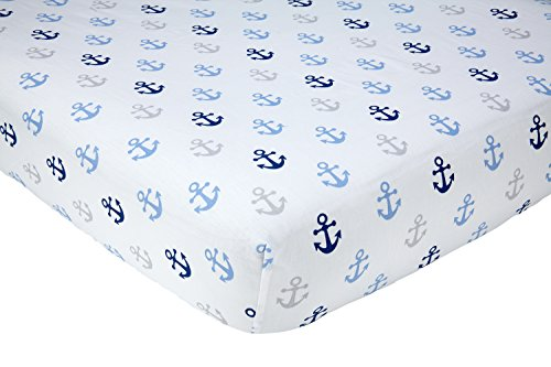 "Little Love by NoJo Separates Collection Anchors Printed Crib Sheet, Navy, 52"" x 28"""