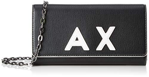 Armani Exchange - Chain Wallet, Carteras de mano con asa Mujer, Negro (Black/White), 10x3.5x20 cm (B x H T)