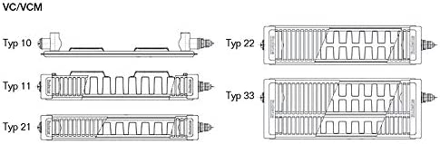 Buderus Logatrend Ventil-Flachheizk/örper VC-Profil Typ 22 BH 600 vers L/ängen BL: 2000 mm Halter