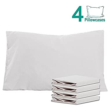 NTBAY 100% Brushed Microfiber Pillowcases Set of 4, Soft and Cozy, Wrinkle, Fade, Stain Resistant, 20 x 30 , Light Grey