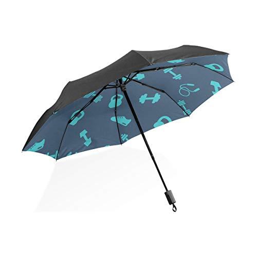 para Mujer Paraguas Invertido Gimnasio Mancuerna Ejercicio Portátil Plegable Paraguas Plegable Protección contra el UV A Prueba de Viento Al Aire Libre Viaje Mujeres Arte Paraguas para Niños